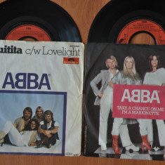 Lot 2 Discuri Vinil ABBA - Chiquitita. Take a chance on me. Disc Vinyl 7