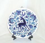Placheta faiantza, cloisonne, hand made - Cerb - marcata Nassos Keramik Rodos