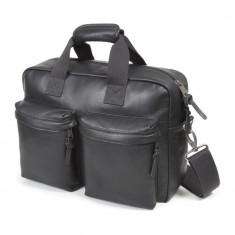 EASTPAK TOMEC Black Leather | Geanta laptop 15