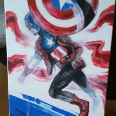 Tablou original Captain America (Universul Marvel) / by WADDER, Scene lupta, Acrilic, Altul
