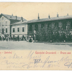 3439 - Litho, ORSOVA, Railway Station - old postcard - used - 1900 - Carte Postala Oltenia pana la 1904, Circulata, Printata