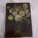 Veche pictura ulei/panza - Pictor roman, Flori, Altul