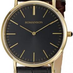 Ceas Romanson barbatesc cod TL0387 MG-BK - pret 469 lei (NOU; ORIGINAL) - Ceas barbatesc Romanson, Elegant, Quartz, Inox, Piele, Analog