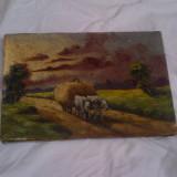 Veche pictura ulei/panza /peisaj - Pictor roman, Natura, Altul
