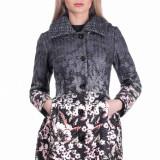 Palton cu Imprimeu Floral Stefania - Negru