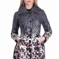 Palton cu Imprimeu Floral Stefania - Negru - Trench dama Raspberry, Marime: 42