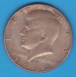 (1) MONEDA DIN ARGINT SUA - HALF DOLLAR 1968, KENNEDY, America de Nord