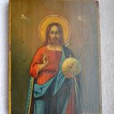 Icoana veche pictata pe lemn 1926 / Icoana veche semnata / Icoana ISUS