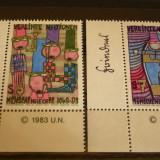 NATIUNILE UNITE VIENA 1983 – DREPTURILE OMULUI, serie nestampilata UN2 - Timbre straine