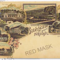 3438 - Litho, Oradea, BAILE FELIX, railway station - old postcard - used - 1898 - Carte Postala Crisana pana la 1904, Circulata, Printata