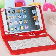 Husa Tableta 10 Inch Cu Tastatura Micro Usb Model X, Rosu, Tip Mapa C109 - Husa tableta cu tastatura, 10.1 inch, Universal