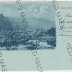 3416 - L i t h o, BRASOV, Panorama - old postcard - used - 1898 - Carte Postala Transilvania pana la 1904, Circulata, Printata
