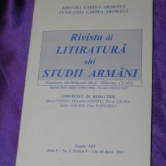 Rivista di litiratura si studii armani nr 1 2001 - aromani tiberiu cunia (f0098
