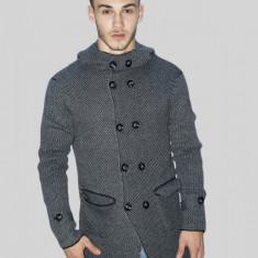 Cardigan barbati- gri cu gluga -palton - tip ZARA - Slim Fit- Casual - fashion - Hanorac barbati, Marime: XL