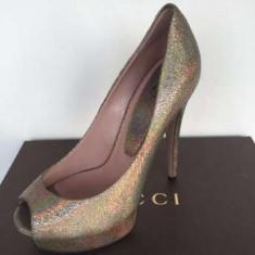 Pantofi GUCCI, Made in Italy, aurii - Pantof dama Gucci, Culoare: Auriu, Marime: 36.5
