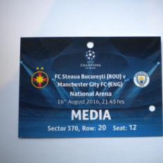 Steaua Bucuresti - Manchester United (16 august 2016) / acreditare media - Program meci