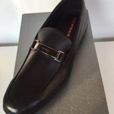 Pantofi PRADA, autentici, Made in Italy - Pantof barbat Prada, Marime: 43.5, Culoare: Negru, Piele naturala