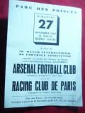 Anunt- Reclama - Meci -Arsenal Fotbal Club contra Racing Club de Paris nov.1938