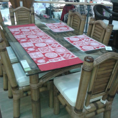 Masa+6 scaune bambus masiv, blat semicristal 1, 1x1, 8m - Masa living