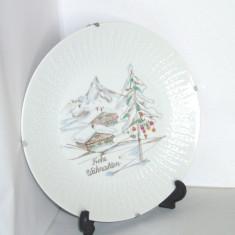 Farfurie portelan Hutschenreuther, pictata manual sub smalt - Frohe Weihnachten