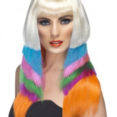 Peruca cu par lung multicolor Neon, lungime 26 cm, Smiffys - Peruca Dama
