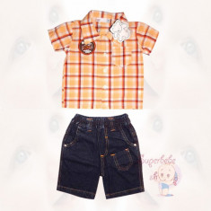 Costum - pantaloni scurti de blugi, camasuta carouri - Haine copii