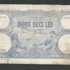 ROMANIA 20 LEI 2 octombrie 1924 [1] starea din imagine - Bancnota romaneasca