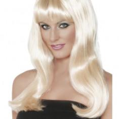 Peruca Mystique Smiffys, par lung intins, blond argintiu - Costum dama