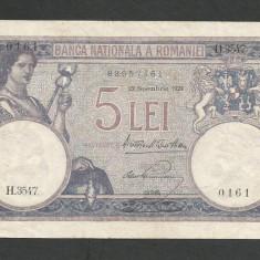 ROMANIA 5 LEI 22 noiembrie 1928 [2] XF - Bancnota romaneasca