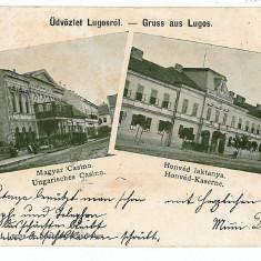 531 - Litho, Banat, LUGOJ, CASINO - old postcard - used - 1900 - Carte Postala Banat pana la 1904, Circulata, Printata