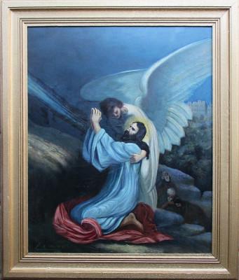Isus urcand pe Golgota - semnat  C.Nadal '37 foto
