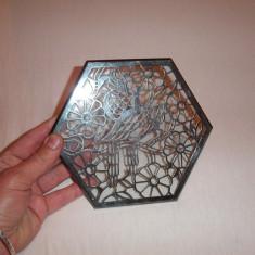Obiect decoratic, placa, din sticla si argint pur 1000 Friedrich Wilhelm Spahr