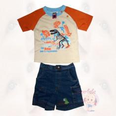 Costum - pantaloni scurti de blugi si tricou - Dinozauri - Haine copii