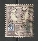 MAREA BRITANIE --1887 PERFIN, Stampilat
