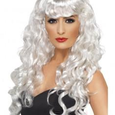 Peruca Siren Smiffys, par lung buclat, blond platinat - Costum dama