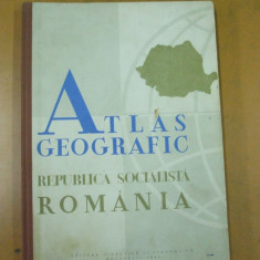 Romania atlas geografic Bucuresti 1965 peste 100 harti color