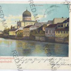 3477 - Litho, ORADEA, SYNAGOGUE - old postcard - used - 1901 - Carte Postala Crisana pana la 1904, Circulata, Printata