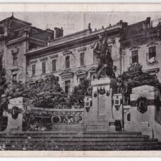 Cernauti carte postala cenzurata 1943 Monumentul Unirii - Carte Postala Bucovina dupa 1918, Circulata, Printata