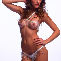 Lenjerie Lady Lust Sexy Babydoll G String Bra Set Chiloti Sutien Swarovski, Masura unica, Alb