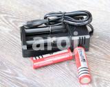 Set 2 Baterii Acumulator 3,7V Li-ion 5800 mAh 18650 + incarcator priza