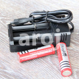 Set 2 Baterii Acumulator 3, 7V Li-ion 5800 mAh 18650 + incarcator priza - Incarcator Aparat Foto