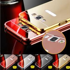 Husa / Bumper aluminiu + spate oglinda pentru Samsung Galaxy J3 Pro