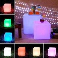 Taburet cu LED RGB tip Cub, control telecomanda