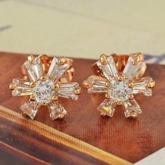 Cercei tip PANDORA GOLD ROSE placati/ filati aur roz 14k cu zirconii - stelute - Cercei placati cu aur