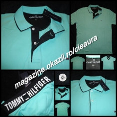 TRICOU VERNIL BARBATI 4XL GEN FIRMA TOMMY HILFIGER MANECA SCURTA GULER BUMBAC - Tricou XXXL Tommy Hilfiger, Culoare: Verde