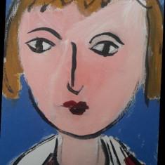 "Pictura pe panza ""Femeie in ie romaneasca"" acrilice pictor artist Maria Schwab"