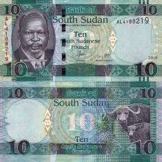 SUDANUL DE SUD 10 pound 2015 UNC!!! - bancnota africa