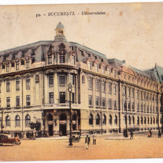 Bucuresti Universitatea masini de epoca CP animata circulata in 1934 - Carte Postala Muntenia dupa 1918, Printata