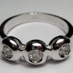 Inel din aur alb 18K cu 3 diamente taietura briliant - Inel diamant, 57 - 67