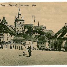 2632 - Mures, SIGHISOARA, Market - old postcard - unused - Carte Postala Transilvania 1904-1918, Necirculata, Printata